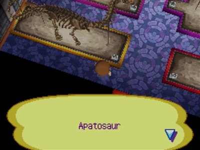 The complete apatosaur on display in the museum in Animal Crossing: Wild World.