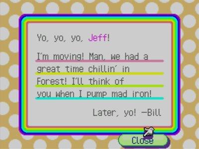 Bill's goodbye letter in Animal Crossing: Wild World.