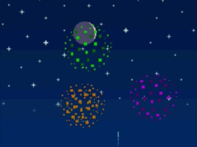 Fireworks go off to celebrate the New Year 2017 in Animal Crossing: Wild World.