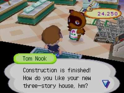 Tom Nook: Construction is finished! How do you like your new three-story house, hm?