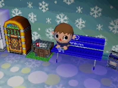 My jukebox from Wishy, my Nook's Cranny from Tom Nook, and the snowman wall from the snowman.