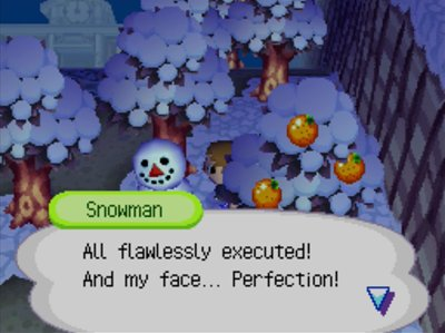 Snowman: All flawlessly executed! And my face... Perfection!