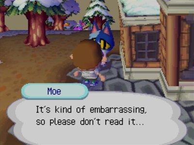 Moe: It's kind of embarrassing, so please don't read it...