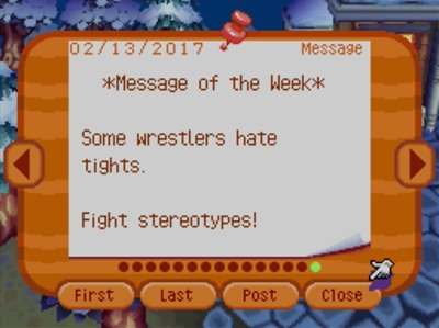 *Message of the Week* Some wrestlers hate tights. Fight stereotypes!
