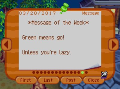 *Message of the Week* Green means go! Unless you're lazy.