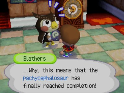 Blathers: ...Why, this means that the pachycephalosaur has finally reached completion!