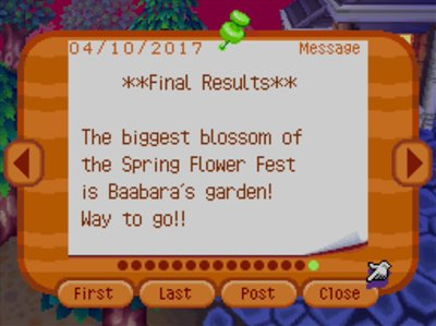 ***Final Results*** The biggest blossom of the Spring Flower Fest is Baabara's garden! Way to go!