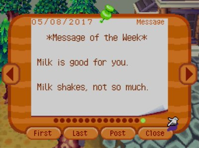 *Message of the Week* Milk is good for you. Milk shakes, not so much.