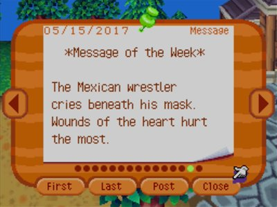 *Message of the Week* The Mexican wrestler cries beneath his mask. Wounds of the heart hurt the most.