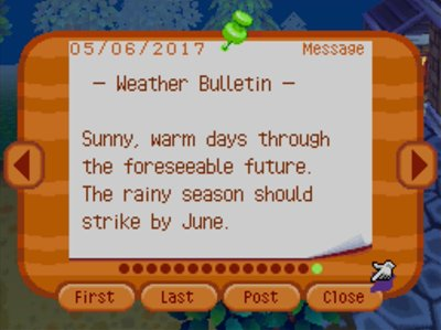 -Weather Bulletin- Sunny, warm days through the foreseeable future. The rainy season should strike by June.