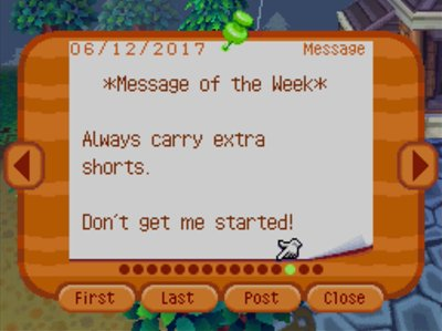 *Message of the Week* Always carry extra shorts. Don't get me started!