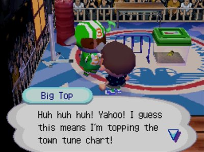 Big Top: Huh huh huh! Yahoo! I guess this means I'm topping the town tune chart!