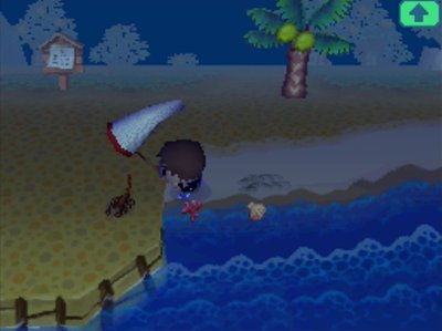 Jeff swings his net at a scorpion in Animal Crossing: Wild World (ACWW).