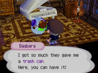 Baabara: I got so much they gave me a trash can. Here, you can have it!
