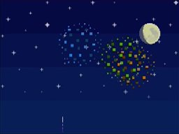 Fireworks appear in the sky during the fireworks festival in Animal Crossing: Wild World.