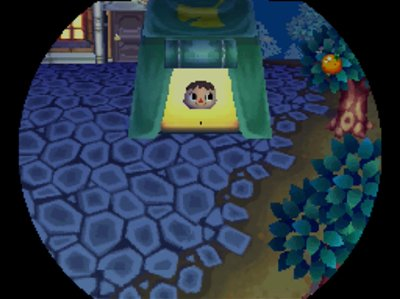 Coming out of Crazy Redd's tent in Animal Crossing: Wild World.