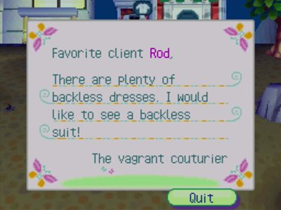 Favorite client Rod, There are plenty of backless dresses. I would like to see a backless suit! -The vagrant couturier