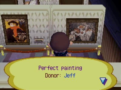 The perfect painting on display at the museum art gallery in Animal Crossing: Wild World.