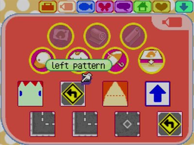 The left pattern design in Animal Crossing: Wild World.