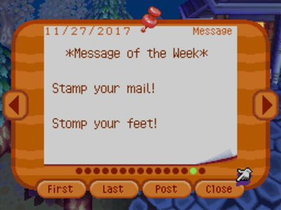*Message of the Week* Stamp your mail! Stomp your feet!