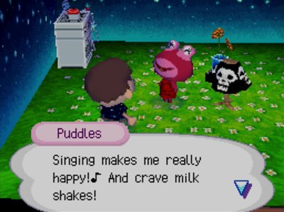 Puddles: Singing makes me really happy! And crave milk shakes!