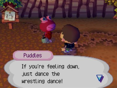 Puddles: If you're feeling down, just dance the wrestling dance!