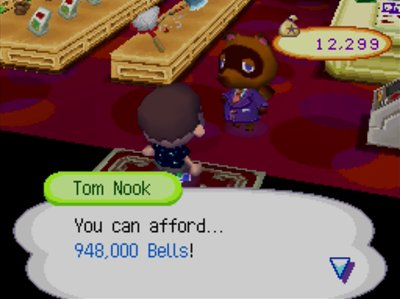 Tom Nook: You can afford... 948,000 bells!
