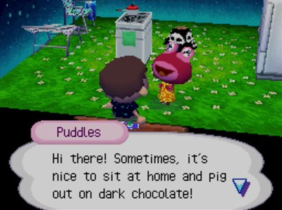 Puddles: Hi there! Sometimes, it's nice to sit at home and pig out on dark chocolate!