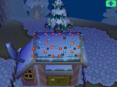 Kiki's house decorated for Bright Nights in ACWW.