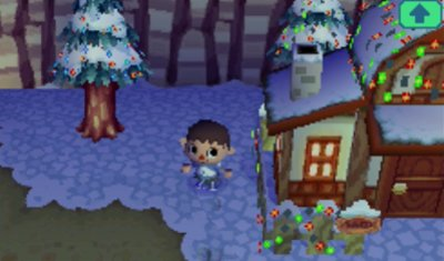 Bud's house decorated with lights for the Bright Nights festival in Animal Crossing: Wild World.