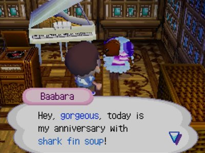Baabara: Hey, gorgeous, today is my anniversary with shark fin soup!