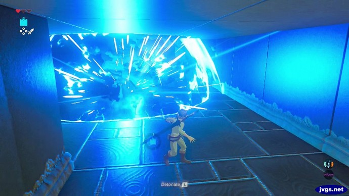 A bomb explodes in the shrine in Zelda: Breath of the Wild.