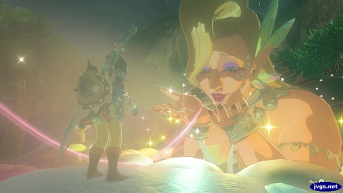 The Great Fairy Cotera blows Link a kiss in Zelda: BOTW.