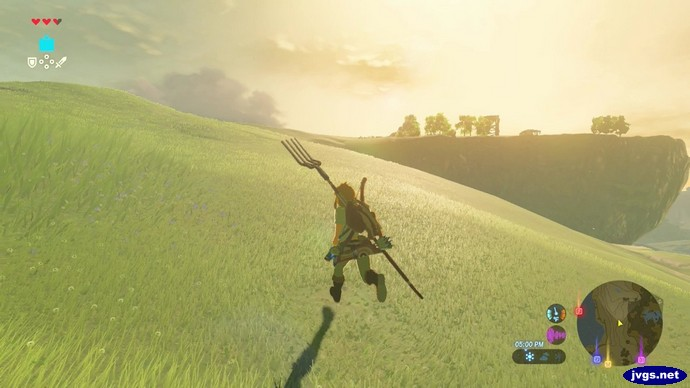 Link explores the world, pitchfork in hand.