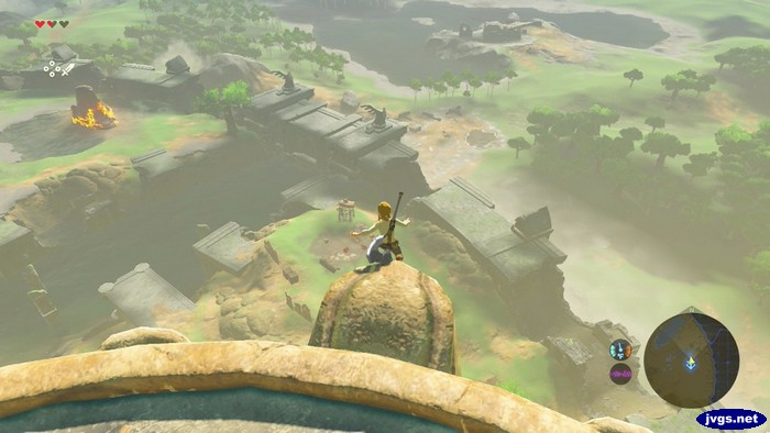 Link falling off the edge of the tower.