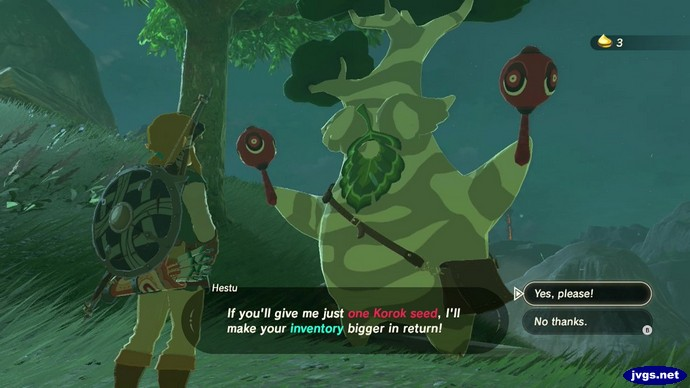 Hestu: If you'll give me just one Korok seed, I'll make your inventory bigger in return!