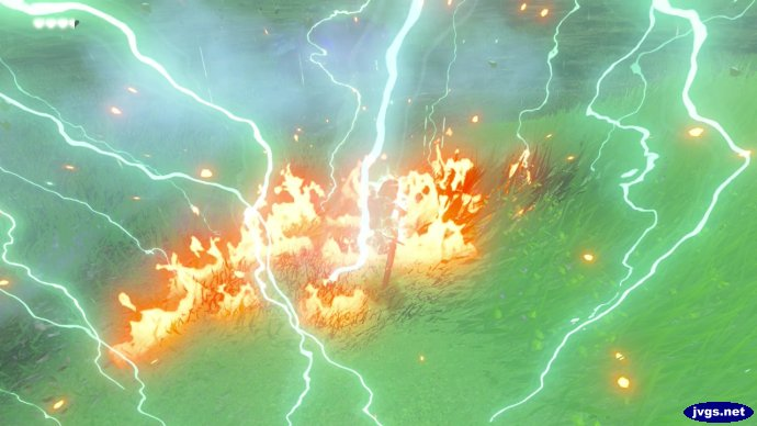 Link gets struck by lightning in The Legend of Zelda: Breath of the Wild.