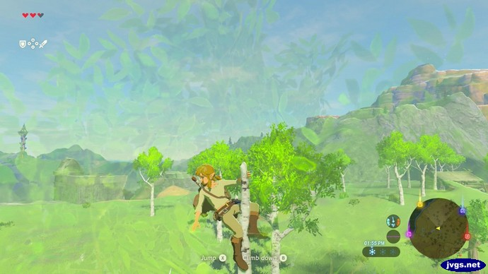 Link pole dancing up a tree in Breath of the Wild.