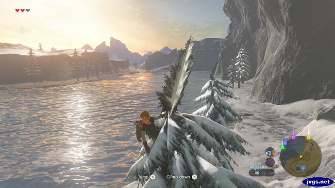Link admires the river scenery from the top of a tree.
