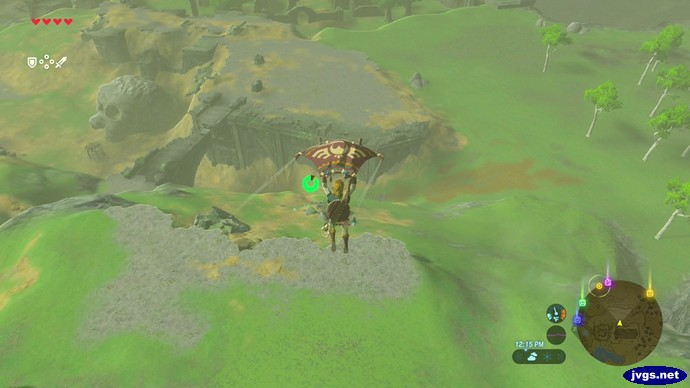 Link sails through the air with his paraglider.
