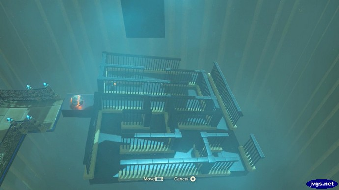 A motion-controlled maze in a shrine.