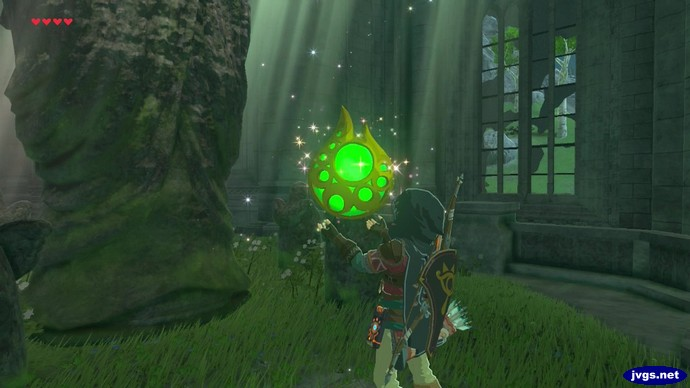 Link obtains a stamina vessel after praying at the Temple of Time.