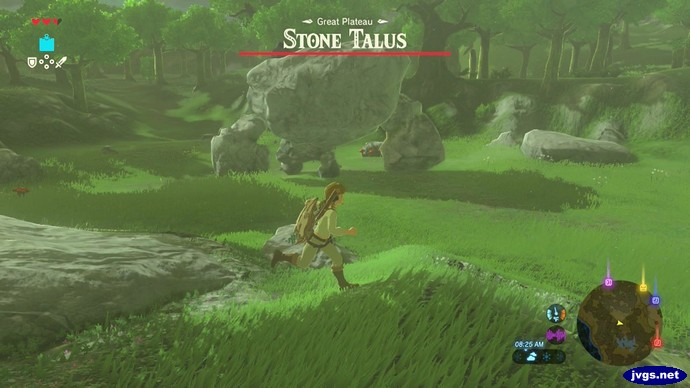 The Stone Talus rock man boss in Zelda BOTW.