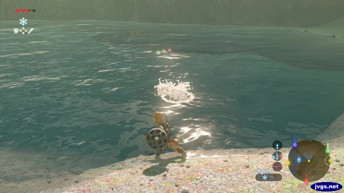 Link accidentally throws his sword in the water.