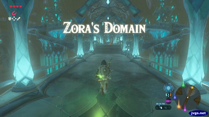Link arrives in Zora's Domain (in The Legend of Zelda: Breath of the Wild on Nintendo Switch).