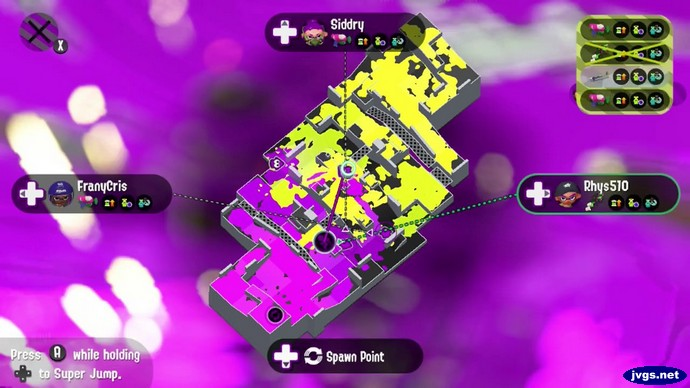 The superjump/map screen in Splatoon 2 for Nintendo Switch.