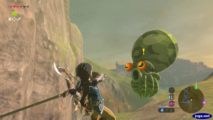 Link prepares to attack an enemy with a very large head.