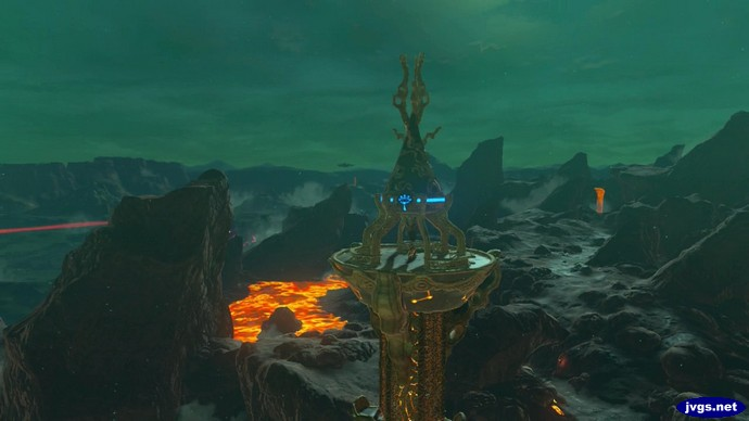 Activating Eldin Tower, overlooking some lava.