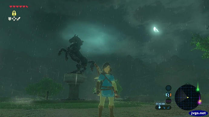A horse statue in a thunderstorm.