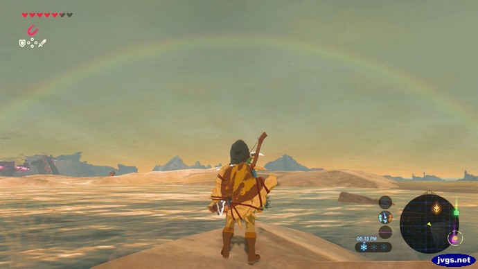 Link admires a rainbow in The Legend of Zelda: Breath of the Wild.
